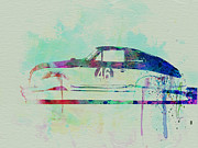 Vintage Car Drawings Prints - Porsche 356 Watercolor Print by Irina  March