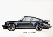 Original Porsche 911 Prints - Porsche 911 930 turbo Print by Juan  Bosco