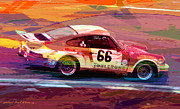 Sports Art Paintings - Porsche 911 Racing by David Lloyd Glover