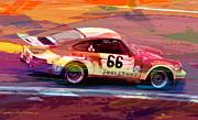 Porsche 911 Racing Print by David Lloyd Glover
