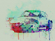 Old Car Drawings Posters - Porsche 911 Watercolor 2 Poster by Irina  March