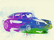 German Classic Cars Prints - Porsche 911 Watercolor Print by Irina  March