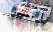 Watercolor Framed Prints - Porsche 917 10 RC Cola Team Follmer Framed Print by Yuriy  Shevchuk