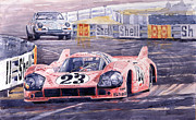 Watercolor Paintings - Porsche 917-20 Pink Pig Le Mans 1971 Joest Reinhold by Yuriy  Shevchuk