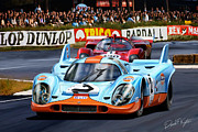 Porsche Framed Prints - Porsche 917 at Le Mans Framed Print by David Kyte