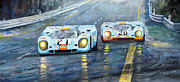 Sport Car Framed Prints - Porsche 917 K GULF Spa Francorchamps 1970 Framed Print by Yuriy  Shevchuk