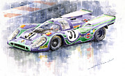 Realistic Painting Framed Prints - Porsche 917 K Martini Racing 1970 Framed Print by Yuriy  Shevchuk
