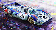 Retro Mixed Media Framed Prints - Porsche 917 LH Larrousse Elford 24 Le Mans 1971 Framed Print by Yuriy  Shevchuk