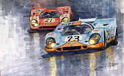 Watercolor Framed Prints - Porsche 917K 1000km Zeltweg Austria 1970  Framed Print by Yuriy Shevchuk