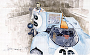 Watercolor  Paintings - Porsche 917K Le Mans  Steve McQueen by Yuriy  Shevchuk