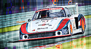 Automotive Digital Art Metal Prints - Porsche 935 Coupe Moby Dick Martini Racing Team Metal Print by Yuriy  Shevchuk