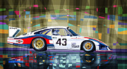 Classic Digital Art Metal Prints - Porsche 935 Coupe Moby Dick Metal Print by Yuriy  Shevchuk