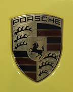 911 Posters - Porsche Emblem on Racing Yellow Poster by Sebastian Musial