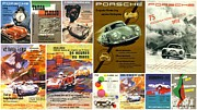 Art Collages Framed Prints - Porsche Racing Posters Collage Framed Print by Don Struke