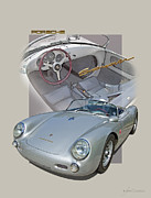 Sports Drawing Posters - Porsche Spyder 550 Poster by Roger Beltz