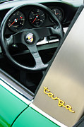 Steering Prints - Porsche Targa Steering Wheel and Emblem Print by Jill Reger