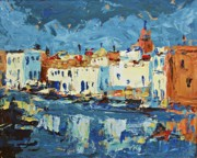 Reflections Of Sky In Water Painting Posters - Port De Bizerte Poster by Brian Simons