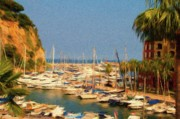 Sail Boats Posters - Port de Fontvieille Poster by Jeff Kolker