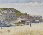 Folk  Paintings - Port en Bessin by Georges Pierre Seurat
