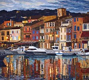 France Tapestries - Textiles Prints - Port of Cassis Print by Lenore Crawford