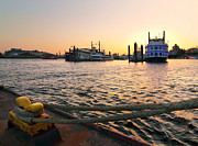 Marc Huebner Acrylic Prints - Port of Hamburg Sunset Acrylic Print by Marc Huebner