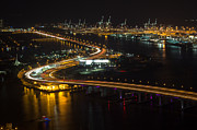 American Airlines Arena Prints - Port of Miami McArthur Causeway Print by Rene Triay Photography