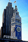 Ferry Building Prints - Port of San Francisco Ferry Building on The Embarcadero 5D20834 Artwork Print by Wingsdomain Art and Photography