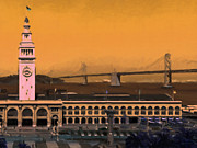 Bay Bridge Prints - Port of San Francisco Ferry Building on The Embarcadero - Painterly - v1 Print by Wingsdomain Art and Photography