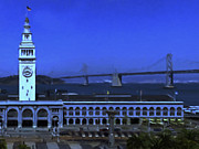 Bay Bridge Digital Art Prints - Port of San Francisco Ferry Building on The Embarcadero - Painterly - v2 Print by Wingsdomain Art and Photography