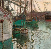 Green Boat Prints - Port of Trieste Print by Egon Schiele