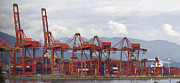 Burrard Inlet Posters - Port of Vancouver BC Cranes and Containers Poster by JPLDesigns