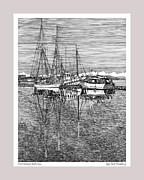 Water Reflections Drawings Framed Prints - Port Orchard Washington Framed Print by Jack Pumphrey