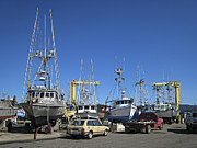 Saltwater Fishing Framed Prints - PORT ORFORD FLEET in DRY DOCK - OREGON COAST Framed Print by Daniel Hagerman