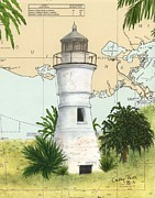 Map Art Painting Posters - Port Pontchartrain Lighthouse LA Chart Map Art Poster by Cathy Peek