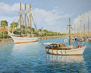 Yacht Paintings - Port Vell in Barcelona by Kiril Stanchev