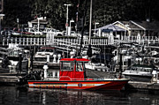 Selective Color Posters - Port Washington Fire Department Marine Boat Poster by Mary Machare