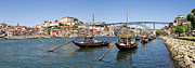 Skylines Photos - Port Wine Boats in Porto City by Lusoimages