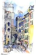 Porta Soprana A Genova Print by Luca Massone