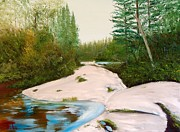 Portage Painting Prints - Portage Trail to Kawaseecheewank Print by Troy Thomas