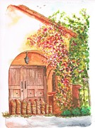 Post Cards Painting Originals - Portal-with-bouganvilles-in-Westwood-CA by Carlos G Groppa