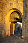 Roussillon Framed Prints - Portcullis Aigues-Mortes  Languedoc-Roussillon France Framed Print by Colin and Linda McKie