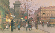 City Streets Framed Prints - Porte Saint Denis Framed Print by Eugene Galien-Laloue