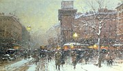Snowfall Framed Prints - Porte St Martin in Paris Framed Print by Eugene Galien Laloue