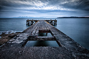 Scenic Landscape Prints Posters - Portencross Pier  and views to Arran Poster by John Farnan