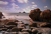 Cape Cornwall Prints - Porth Nanven beach Print by Rachel  Slater