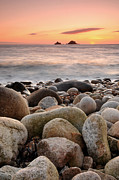 Cape Cornwall Prints - Porth Nanven Sunset Print by Rachel  Slater