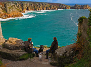 Pause Art - Porthcurno Bay and Logan Rock by Louise Heusinkveld