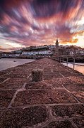 Cornish Prints - Porthleven Pier Sunrise Print by John Farnan
