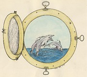 Leaping Painting Framed Prints - Porthole Leaping Dolphins Cathy Peek Ocean Art Framed Print by Cathy Peek