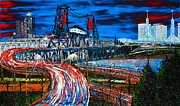 City Of Bridges Painting Posters - Portland Blue City Lights Over Steel Bridge 1 Poster by James Dunbar